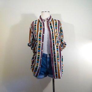 Vintage Crazy Block Stripes Buttondown Unisex